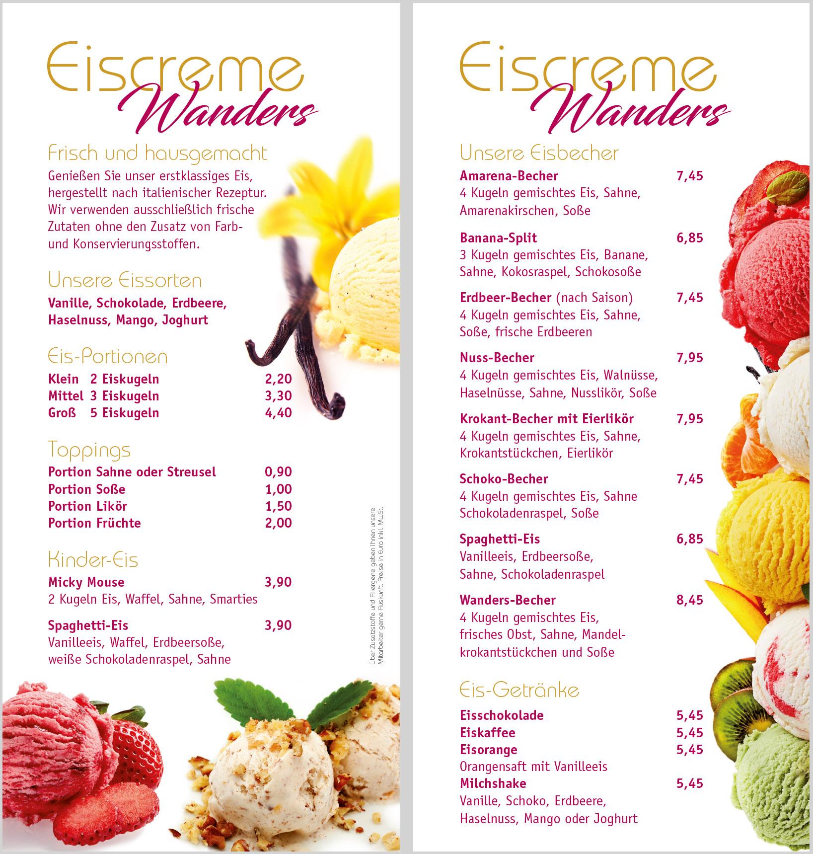 Eis Eiskarte Stadt Café Wanders Kleve